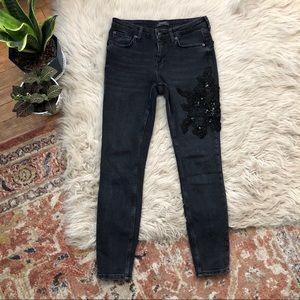 Zara Black Floral Embellished Skinny Jeans